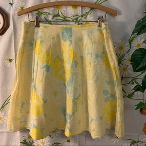 Vintage FREE PEOPLE yellow blue floral skirt